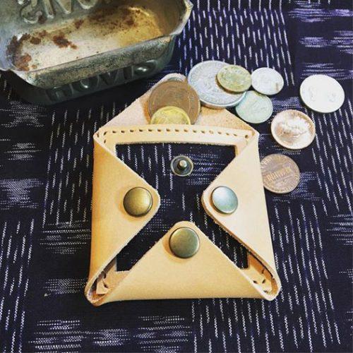 久留米絣とヌメ革のコインケース